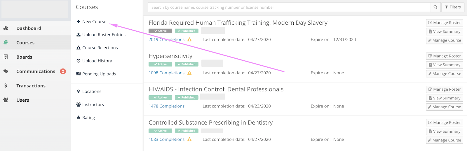 Screenshot of the provider course list page with an arrow pointing to the New Course link.